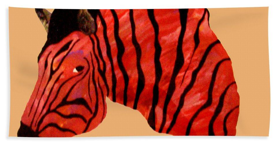 Zebra Beach Towel featuring the painting Orange Zebra by Andrew Petras