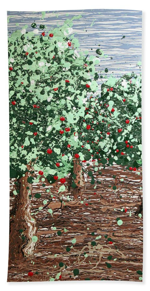 Abstract Beach Towel featuring the painting Orchard 4 by Ric Bascobert