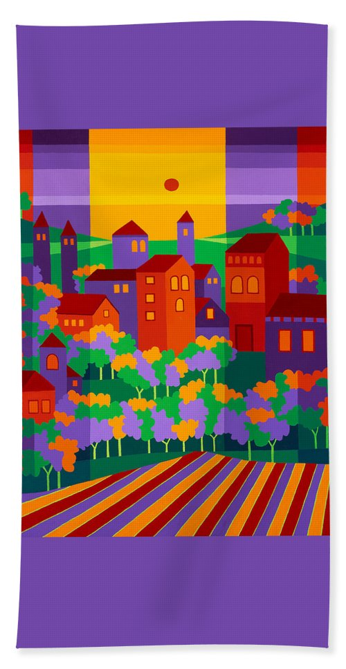Landscape Beach Towel featuring the painting Orchard Villa by Michael Jernegan
