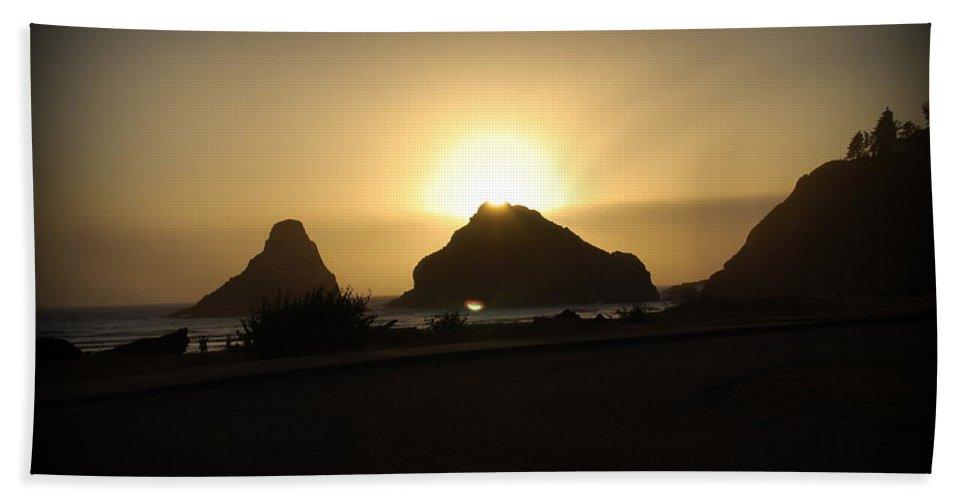 Ocean Beach Towel featuring the digital art Oregon Coastal Sunset II by Kathy Sampson