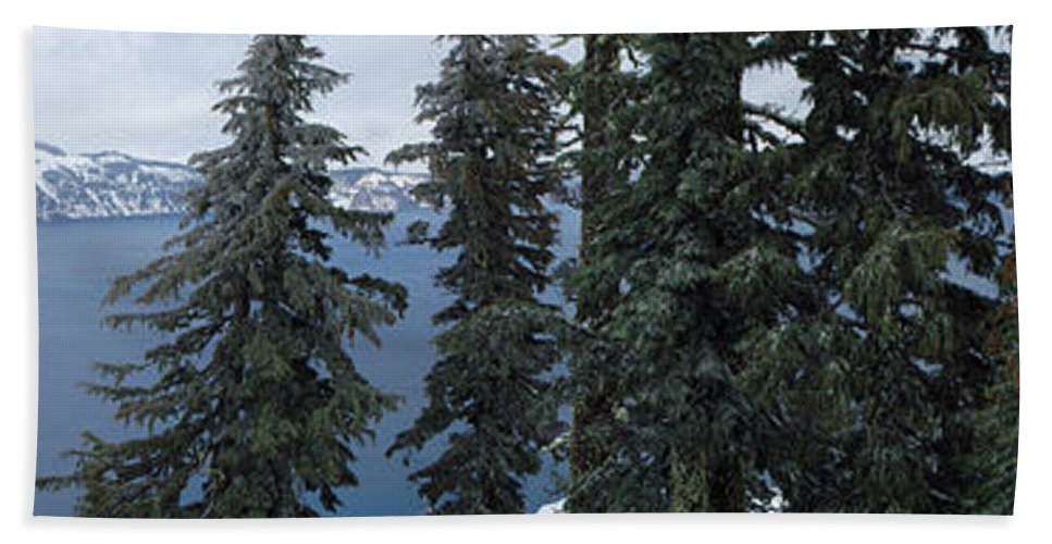 Beach Towel featuring the photograph Oregon Crater Lake Panoramic by Mike Nellums