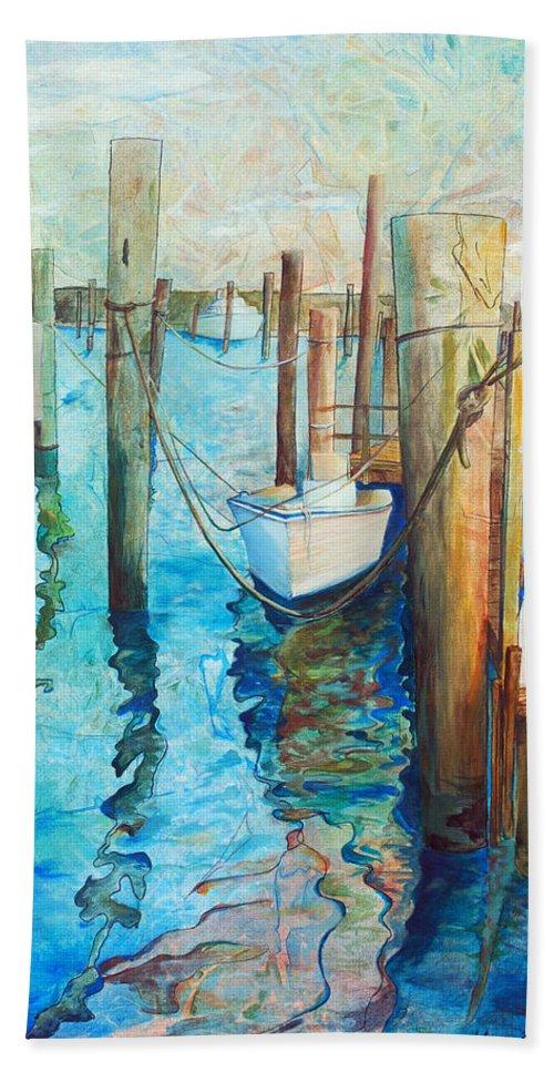 North Carolina Beach Towel featuring the painting Oregon Inlet by Arlissa Vaughn