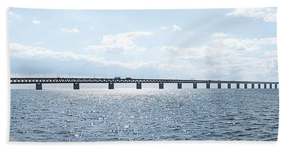 Panorama Beach Towel featuring the photograph Oresundsbron Panorama 01 by Antony McAulay