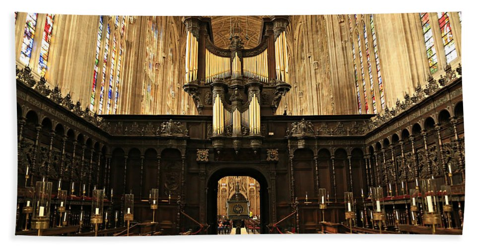 Organ Beach Towel featuring the photograph Organ And Choir - King's College Chapel by Stephen Stookey
