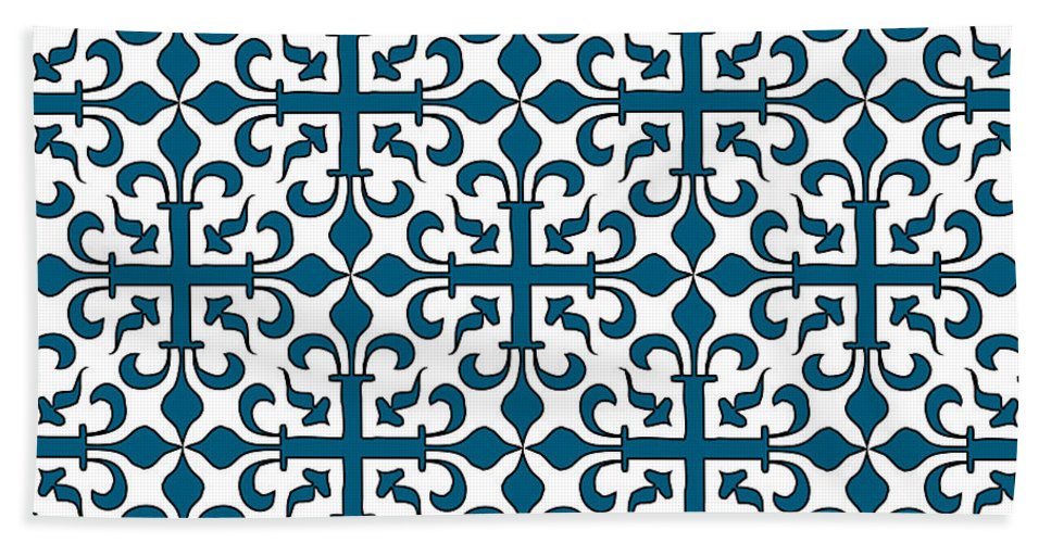 Patterns Beach Towel featuring the digital art Orient Blue And White Interlude by Jackie Farnsworth