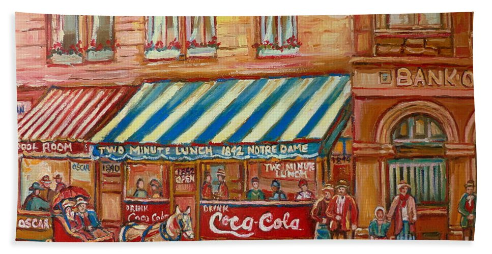 Montreal Scenes Beach Towel featuring the painting Original Bank Notre Dame Street by Carole Spandau