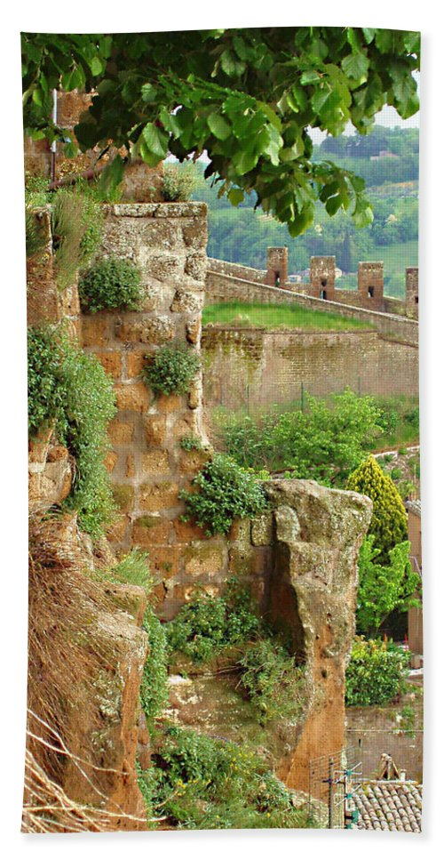 Orvieto Battlement Beach Towel featuring the photograph Orvieto Battlement by Ellen Henneke