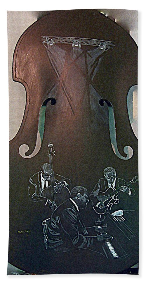 Oscar Peterson Beach Towel featuring the painting Oscar Peterson Trio by Richard Le Page