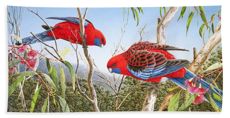 Bird Beach Towel featuring the painting Our Beautiful Home - Crimson Rosellas by Frances McMahon