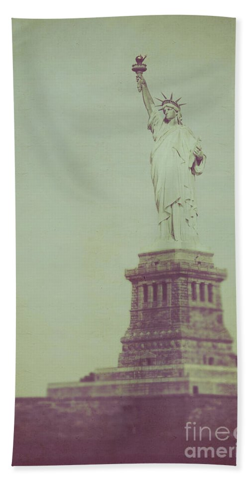 Statue Of Liberty; Statue; Freedom; New York; New York City; Usa; United States; Vintage; Site Seeing; Travel; Tourism; America; Monument; Sculpture; Sightseeing; Liberty; Torch; Copper; Island; Law; Justice; Manhattan; Post Card Beach Towel featuring the photograph Our Lady Liberty by Margie Hurwich
