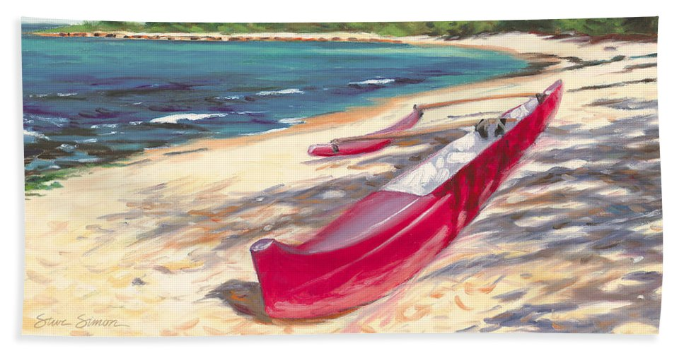 Outrigger Beach Towel featuring the painting Outrigger - Haleiwa by Steve Simon