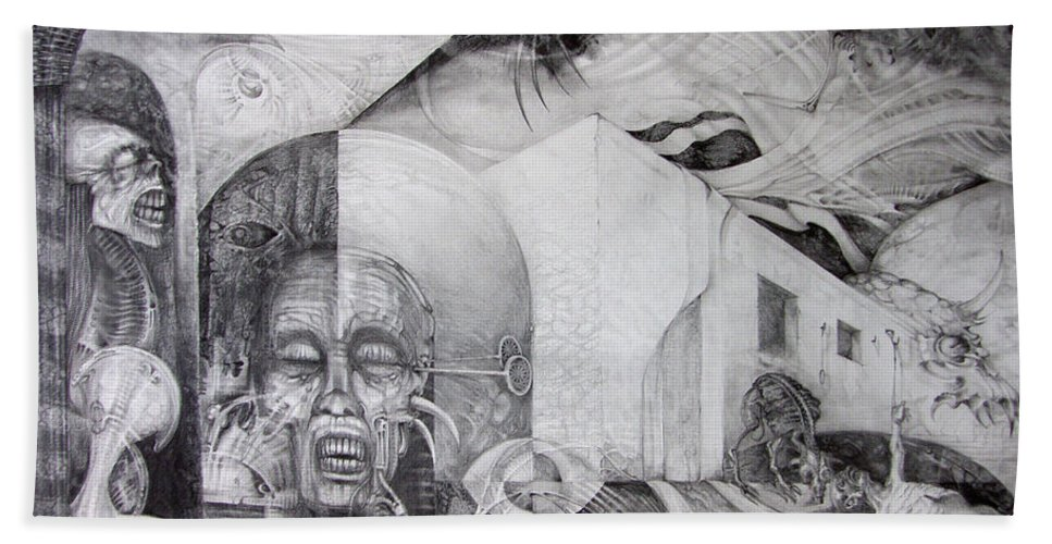 otto Rapp Beach Towel featuring the drawing Outskirts Of Necropolis by Otto Rapp