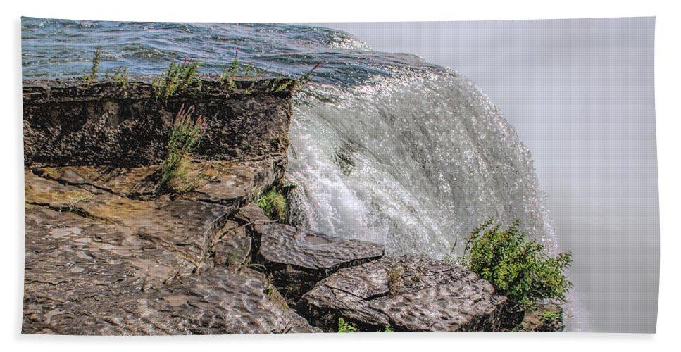 Over The Edge Niagara Falls Beach Towel featuring the photograph Over The Edge Niagara Falls by LeeAnn McLaneGoetz McLaneGoetzStudioLLCcom