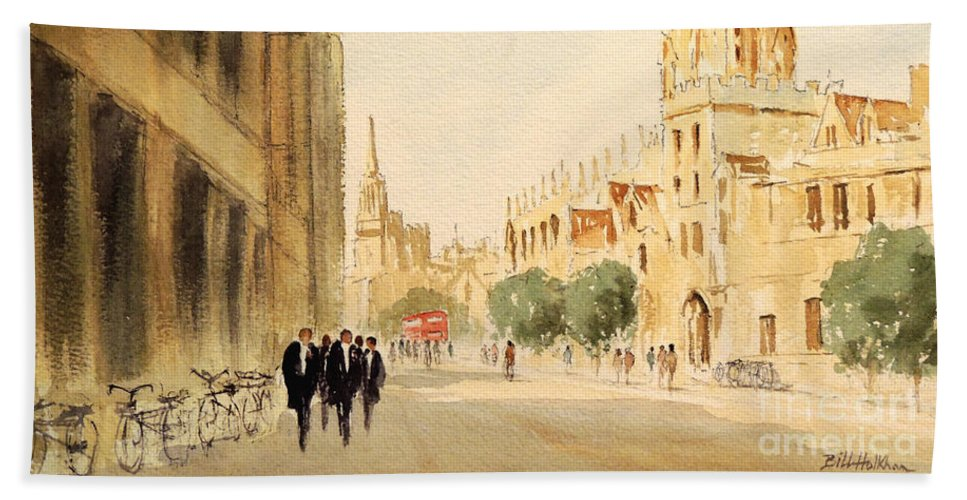 Oxford England Beach Towel featuring the painting Oxford High Street by Bill Holkham