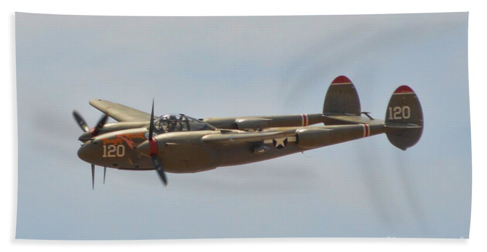 Lockheed P-38l Lighting Beach Towel featuring the photograph P-38l Lighting - Thoughts Of Midnight by Tommy Anderson