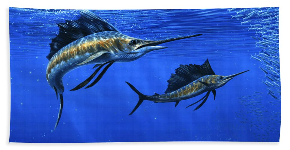Pacific Sailfish Beach Sheet featuring the painting Pacific Sailfish by Guy Crittenden