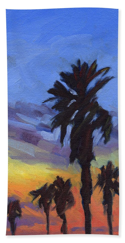 Sunset Beach Towel featuring the painting Pacific Sunset 2 by Konnie Kim