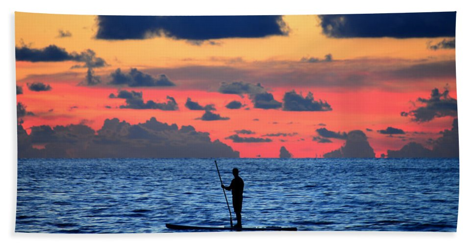 Paddle Boarding Beach Towel featuring the photograph Paddle Boarding Sunset by David Lee Thompson
