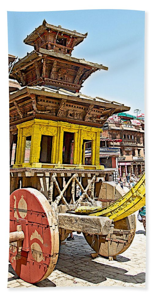 Pagoda-style Carriage In Bhaktapur Durbar Square In Bhaktapur In Nepal Beach Towel featuring the photograph Pagoda-style Carriage In Bhaktapur Durbar Square In Bhaktapur-nepal by Ruth Hager