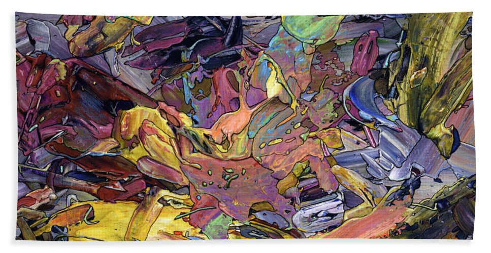 Abstract Beach Towel featuring the painting Paint Number 60 by James W Johnson