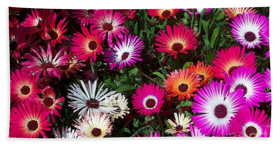 Painted Flowers Beach Towel featuring the mixed media Painted Flowers by Chalet Roome-Rigdon
