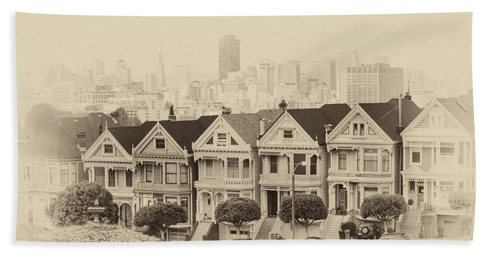 Painted Ladies Beach Towel featuring the photograph Painted Ladies At Alamo Square by Wim Slootweg