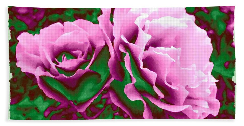 Painted Pink Roses Beach Towel featuring the digital art Painted Pink Roses by Will Borden