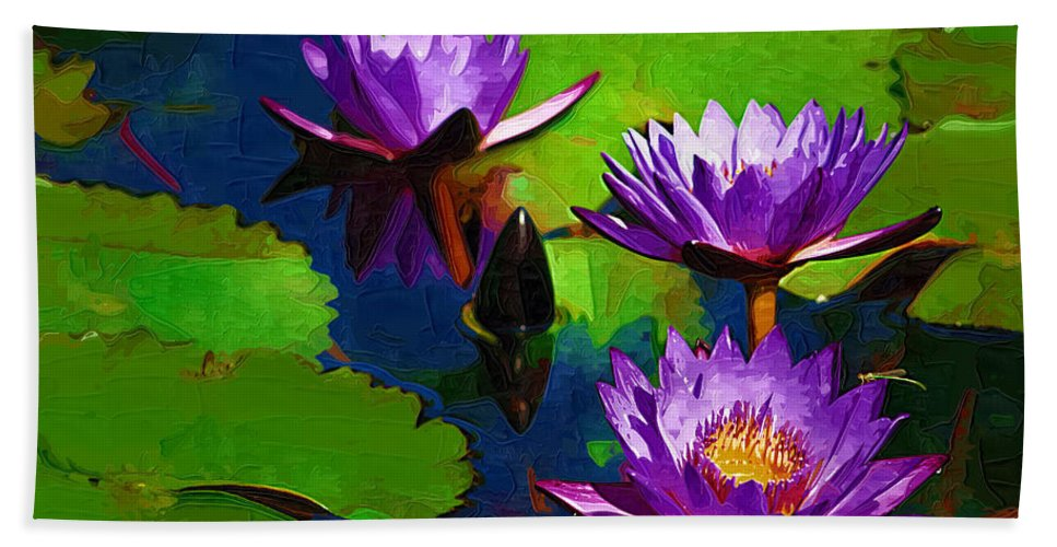 Waterlilies Beach Towel featuring the photograph Painted Purple Water Lilies by Kathy Clark