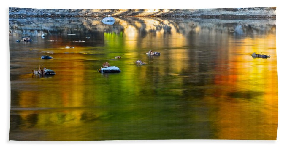 Painted Beach Towel featuring the photograph Painted River by Frozen in Time Fine Art Photography
