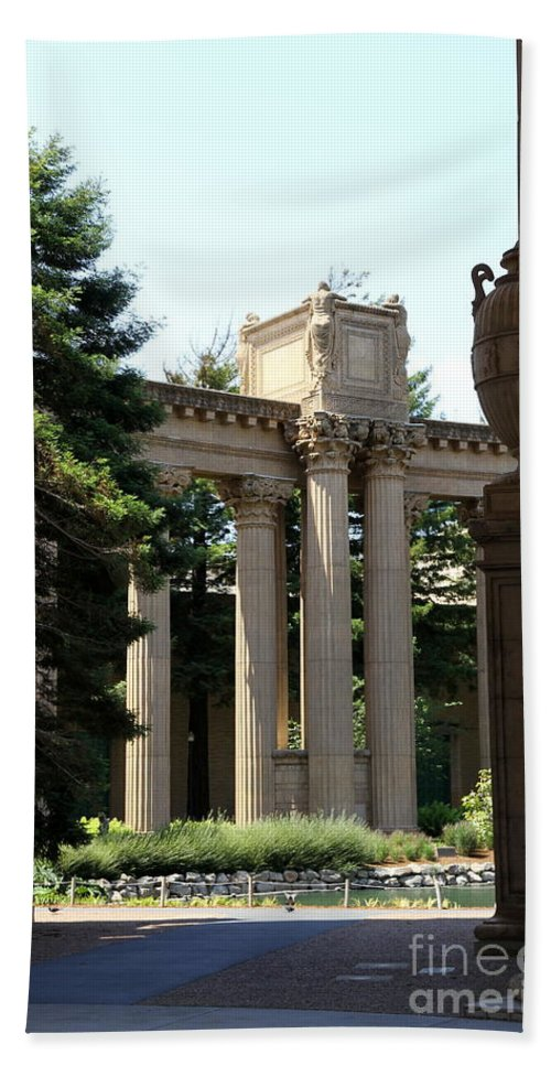 Palace Of Fine Arts Beach Towel featuring the photograph Palace Fine Arts Pillars And Urn by Christiane Schulze Art And Photography