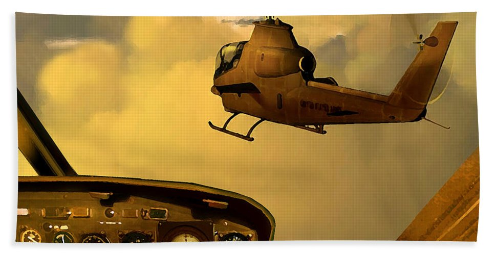 Dieter Carlton Beach Towel featuring the painting Palette Of The Aviator by Dieter Carlton