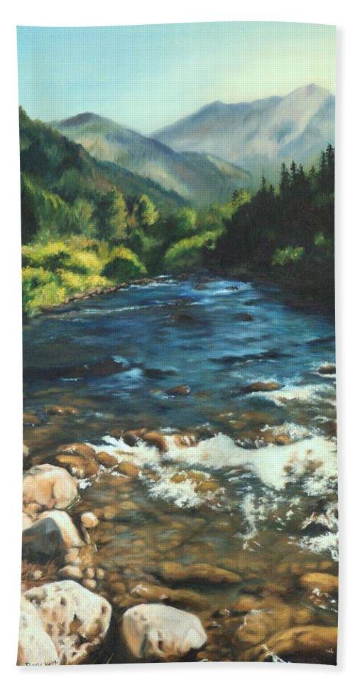 Palisades Creek Beach Towel featuring the painting Palisades Creek by Lori Brackett