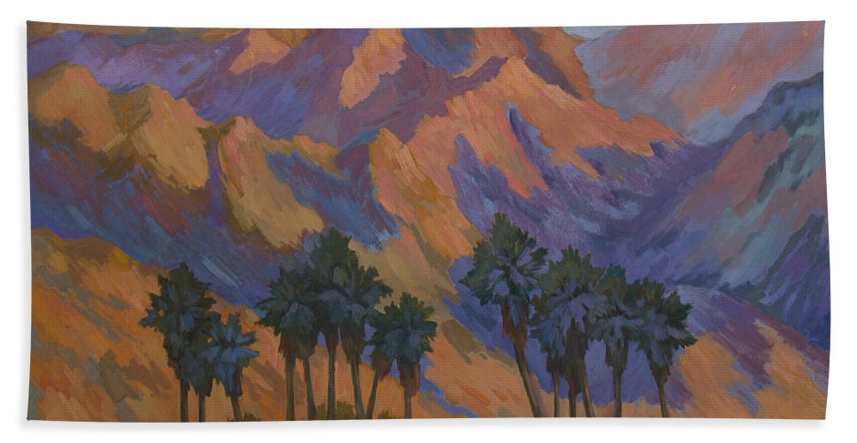 Palm Oasis At La Quinta Cove Beach Towel featuring the painting Palm Oasis At La Quinta Cove by Diane McClary