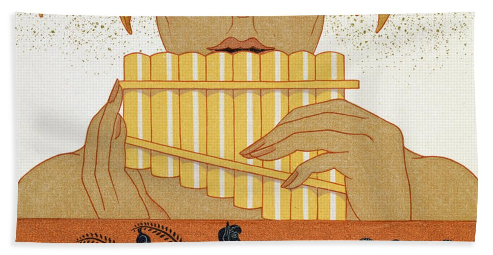 Centaur Beach Towel featuring the painting Pan Piper by Georges Barbier