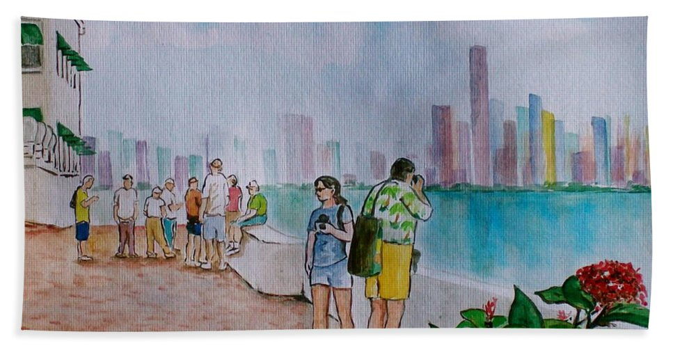 Panama City Tourists Tall Buildings People Flower Beach Towel featuring the painting Panama City Panama by Frank Hunter