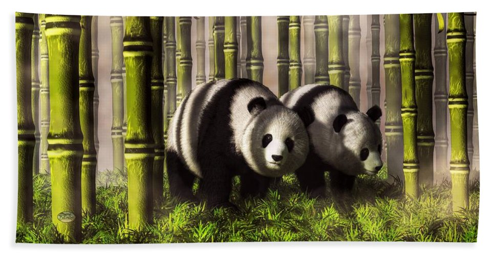 Panda Beach Towel featuring the digital art Pandas In A Bamboo Forest by Daniel Eskridge