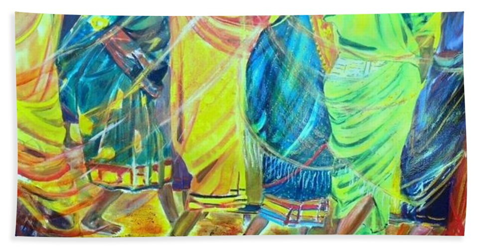 Women Walking Beach Towel featuring the painting Panjim by Peggy Blood