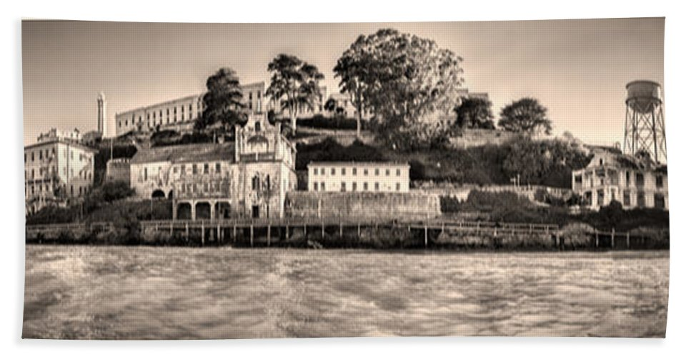 Alcatraz Beach Towel featuring the photograph Panorama Alcatraz Shaky Sepia by Scott Campbell