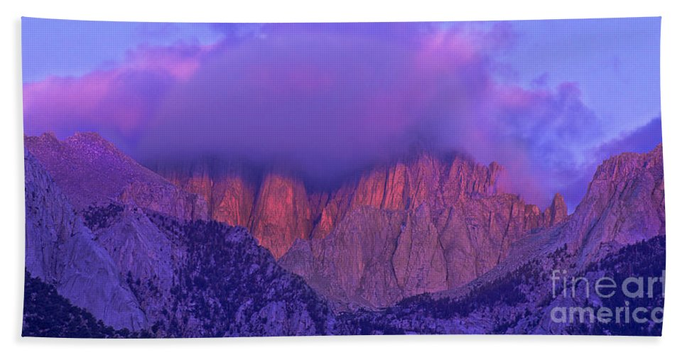 Eastern Sierras Beach Towel featuring the photograph Panorama Alpenglow On Mount Whitney Eastern Sierras California by Dave Welling