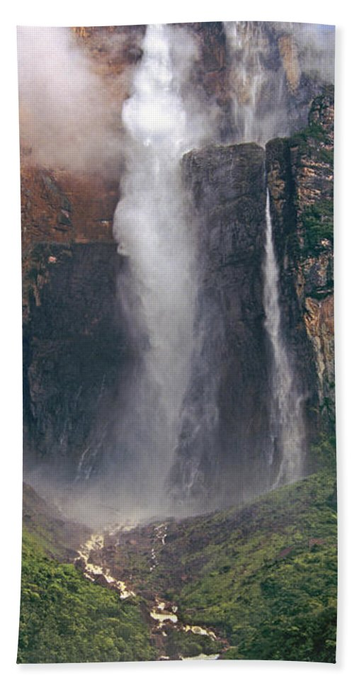 Venezuela Beach Towel featuring the photograph Panorama Angel Falls In Canaima National Park Venezuela by Dave Welling