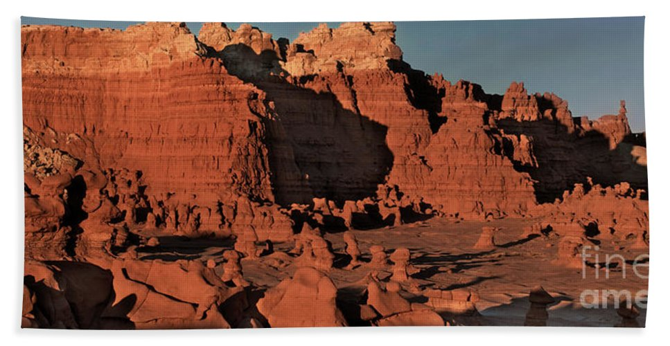North America Beach Towel featuring the photograph Panorama Hoodoos Goblin Valley Utah by Dave Welling