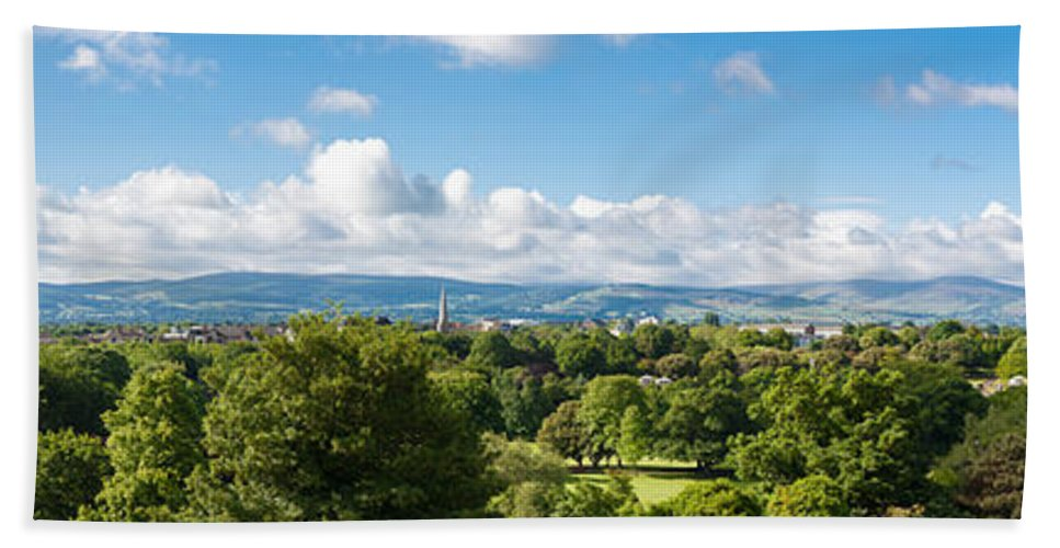 Blue Beach Towel featuring the photograph Panorama Of Phoenix Park And Wicklow Mountains by Semmick Photo