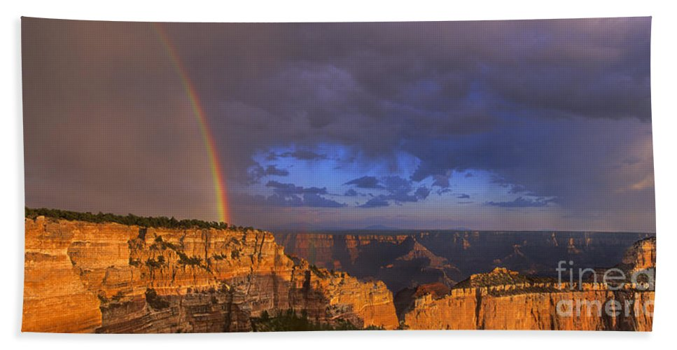 North America Beach Towel featuring the photograph Panorama Rainbow Over Cape Royal North Rim Grand Canyon National Park by Dave Welling
