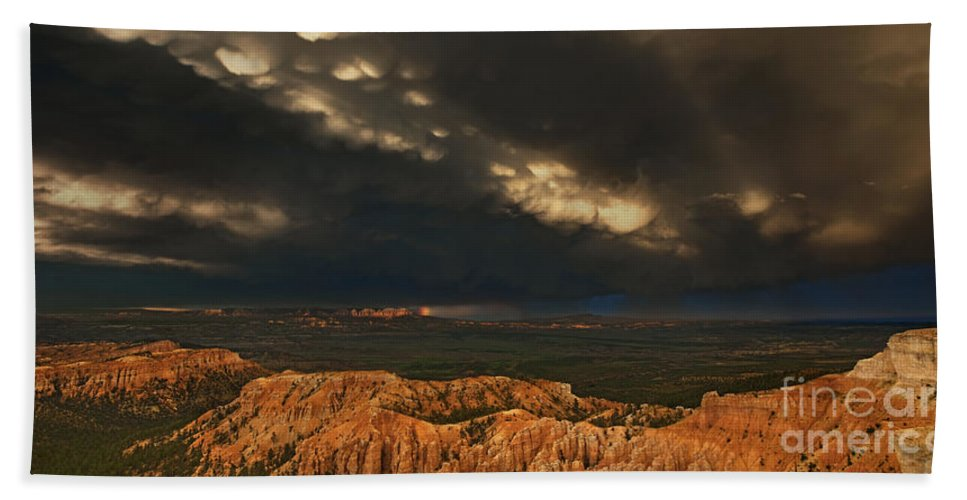 North America Beach Towel featuring the photograph Panorama Storm Clouds Over Bryce Canyon National Park Utah by Dave Welling