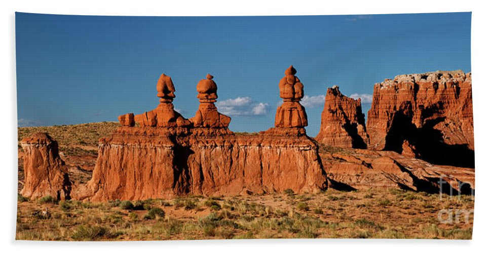 North America Beach Towel featuring the photograph Panorama Three Sisters Hoodoo Goblin Valley Utah by Dave Welling
