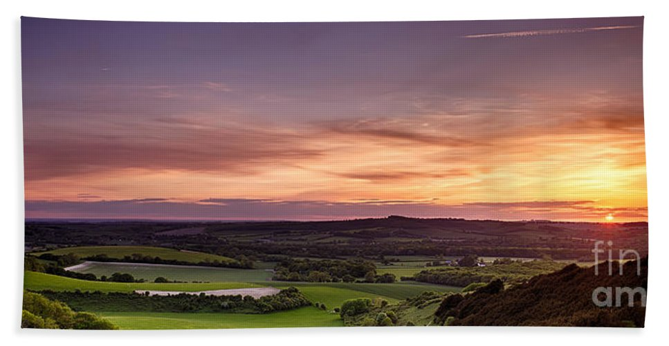 Landscape Beach Towel featuring the photograph Panoramic Sunset Over England by Simon Bratt Photography LRPS