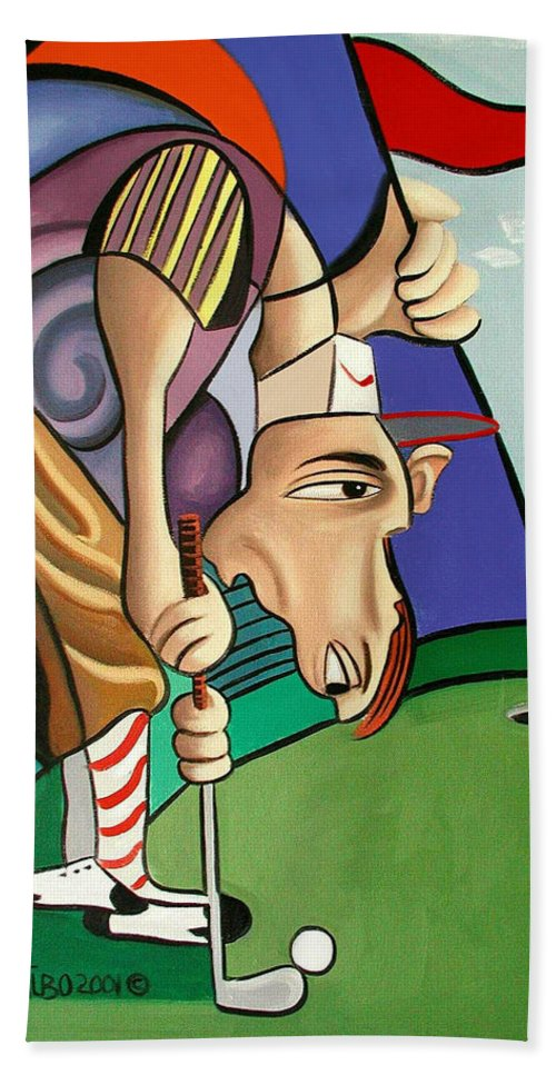 Par For The Course Beach Towel featuring the painting Par For The Course by Anthony Falbo
