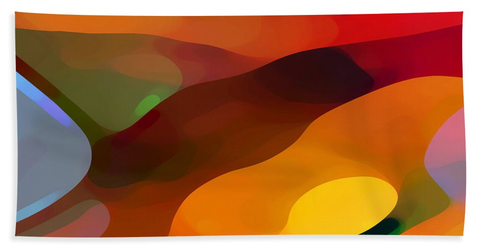Abstract Beach Towel featuring the painting Paradise Found by Amy Vangsgard
