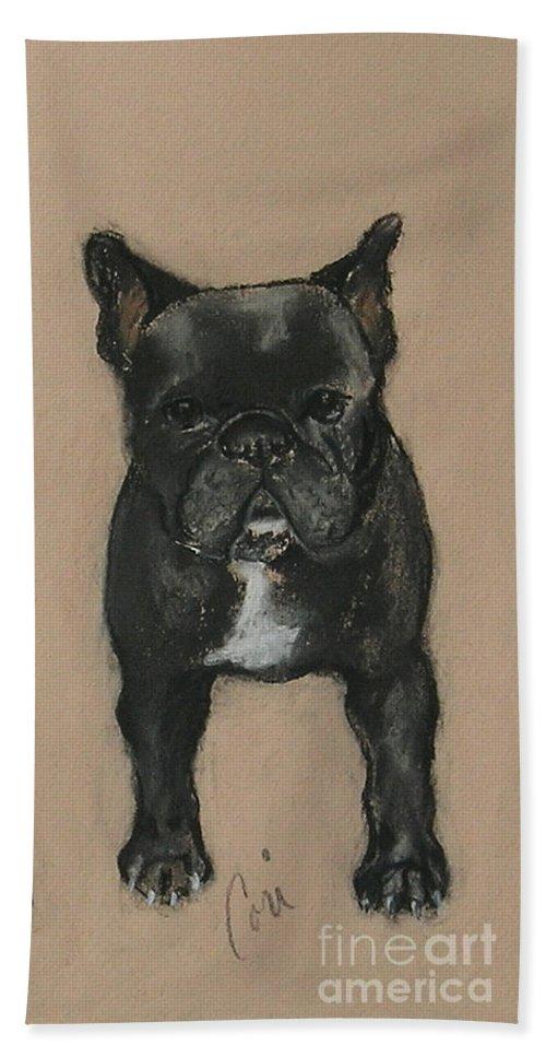 French Bulldog Beach Towel featuring the pastel Pardon My French by Cori Solomon
