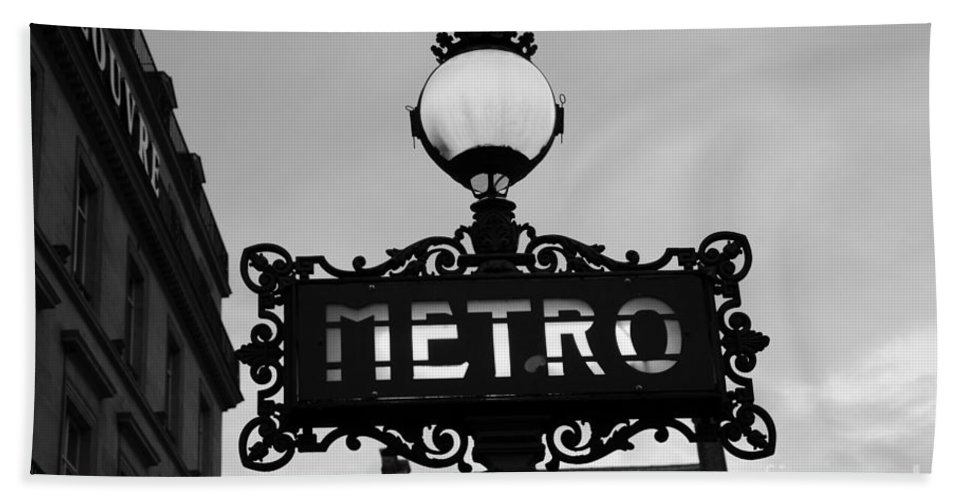 Paris Black And White Photography Beach Towel featuring the photograph Paris Metro Sign Black And White Art - Ornate Metro Sign At The Louvre - Metro Sign Architecture by Kathy Fornal